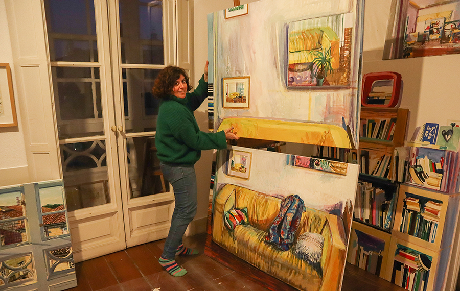 María Meijide, no seu estudio. Foto: Delio Sánchez