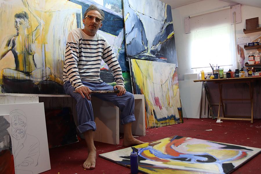 Delio, no seu estudio. Foto: Delio Sánchez